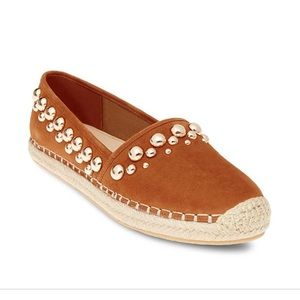 Tan suede espadrilles with gold studs